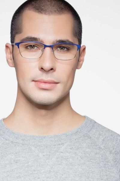 Cascade Bleu Métal Montures de Lunettes pour Hommes d'EyeBuyDirect, Vue de Face