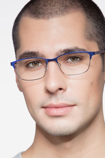 Cascade Blue Metal Eyeglass Frames for Men from EyeBuyDirect