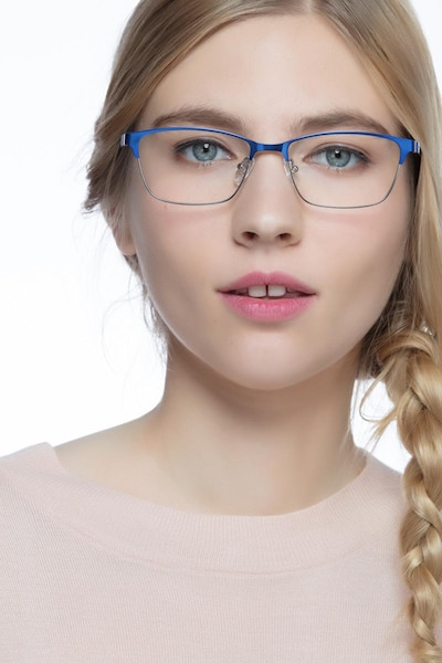 Cascade Blue Metal Eyeglass Frames for Women from EyeBuyDirect