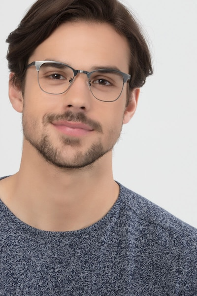 Ferrous Gunmetal Metal Eyeglass Frames for Men from EyeBuyDirect, Front View