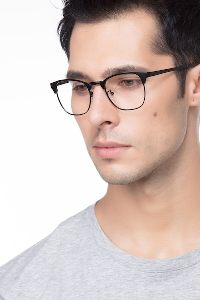Ferrous Black Metal Eyeglass Frames for Men from EyeBuyDirect, Front View