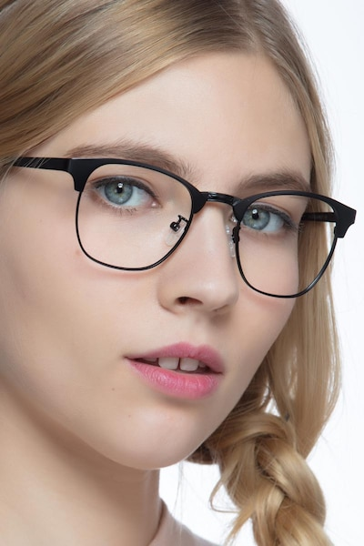 Ferrous Black Metal Eyeglass Frames for Women from EyeBuyDirect, Front View