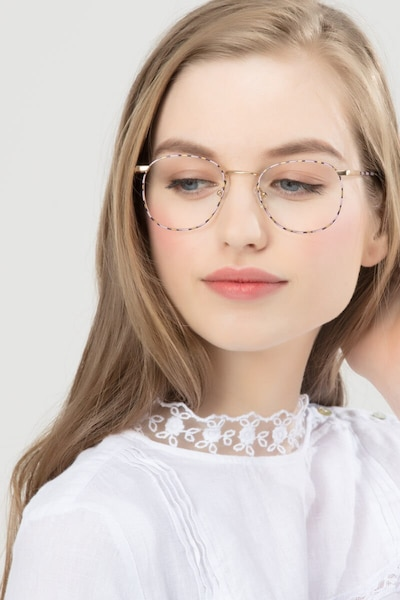 Blossom Floral Golden Metal Eyeglass Frames for Women from EyeBuyDirect, Front View