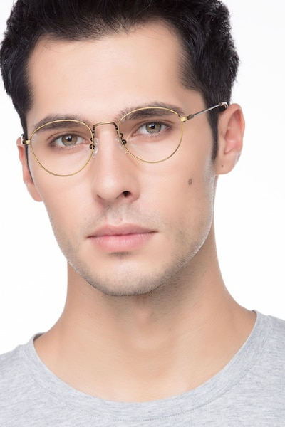 Taipei Bronze Metal Eyeglass Frames for Men from EyeBuyDirect, Front View