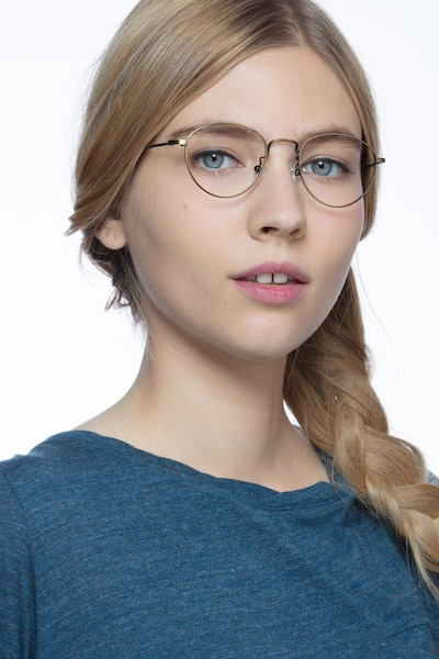 Taipei Bronze Metal Eyeglass Frames for Women from EyeBuyDirect, Front View