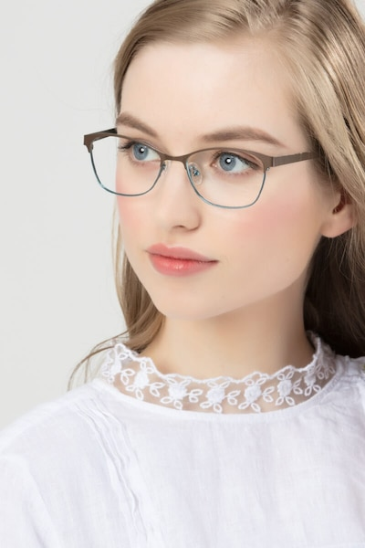 Sabrina Brown Blue Metal Eyeglass Frames for Women from EyeBuyDirect, Front View