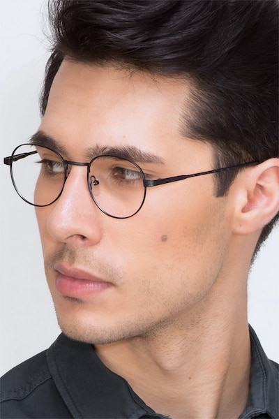 Belleville Navy Metal Eyeglass Frames for Men from EyeBuyDirect
