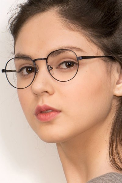 Belleville Navy Metal Eyeglass Frames for Women from EyeBuyDirect