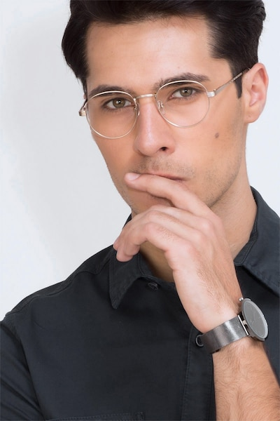 Belleville Golden Metal Eyeglass Frames for Men from EyeBuyDirect, Front View