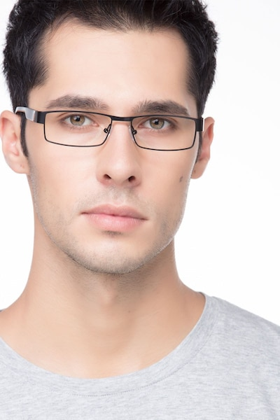 Katia Black Metal Eyeglass Frames for Men from EyeBuyDirect, Front View
