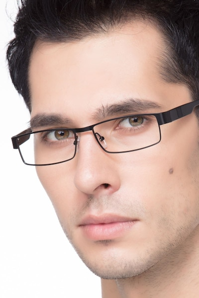 Katia Black Metal Eyeglass Frames for Men from EyeBuyDirect