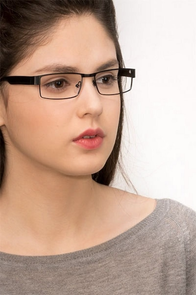 Katia Black Metal Eyeglass Frames for Women from EyeBuyDirect, Front View