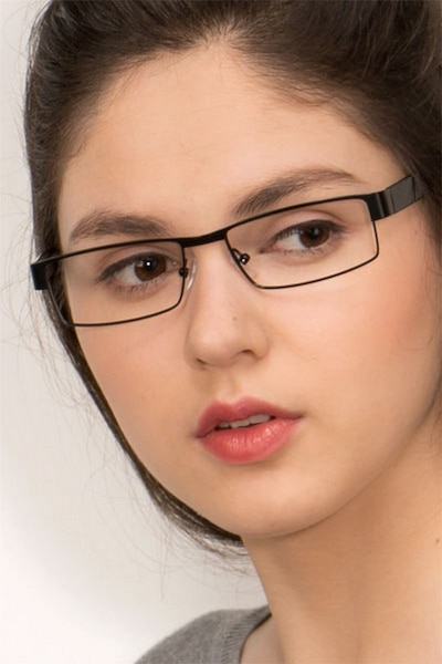 Katia Black Metal Eyeglass Frames for Women from EyeBuyDirect