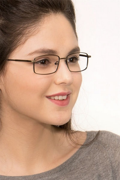 Tab Bronze Metal Eyeglass Frames for Women from EyeBuyDirect, Front View