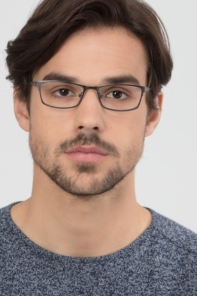 Germantown Gunmetal Metal Eyeglass Frames for Men from EyeBuyDirect, Front View