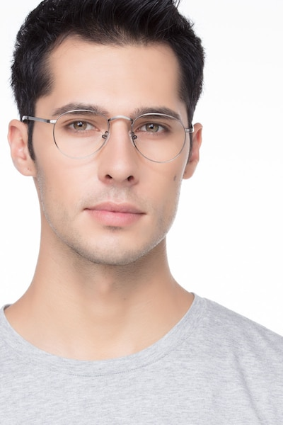 Pensive Gunmetal Metal Eyeglass Frames for Men from EyeBuyDirect, Front View