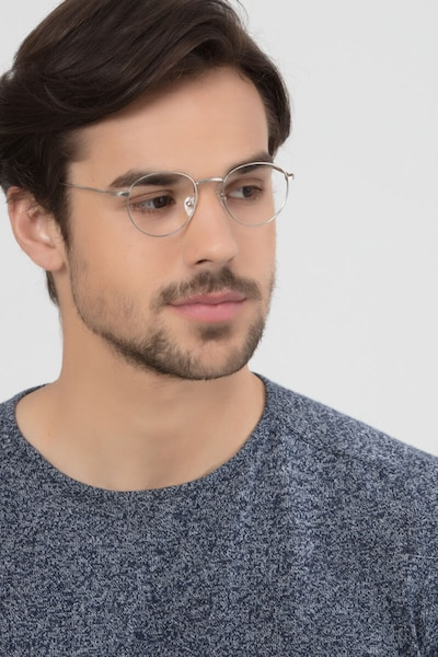 Epilogue Silver Metal Eyeglass Frames for Men from EyeBuyDirect, Front View