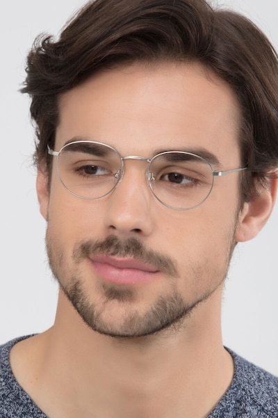 Epilogue Silver Metal Eyeglass Frames for Men from EyeBuyDirect