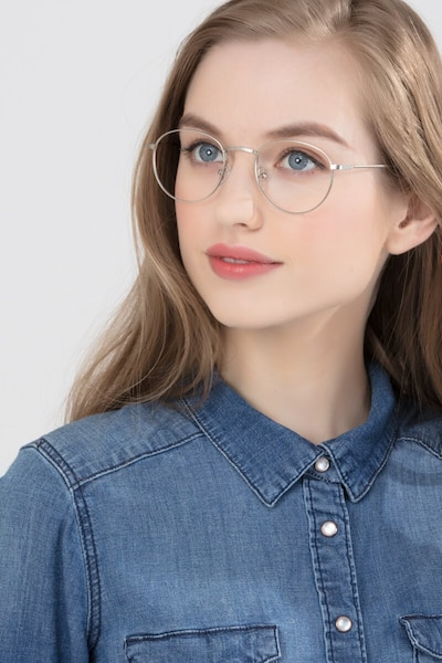 Epilogue Silver Metal Eyeglass Frames for Women from EyeBuyDirect