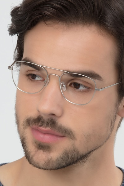 Captain Silver Metal Eyeglass Frames for Men from EyeBuyDirect