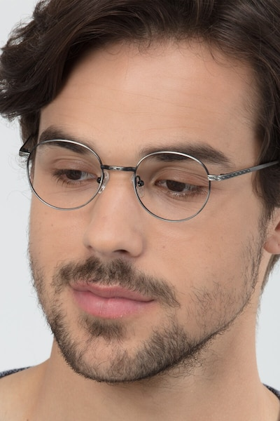 Ledger Gray Metal Eyeglass Frames for Men from EyeBuyDirect