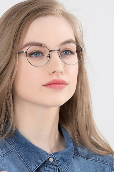 Ledger Gray Metal Eyeglass Frames for Women from EyeBuyDirect, Front View