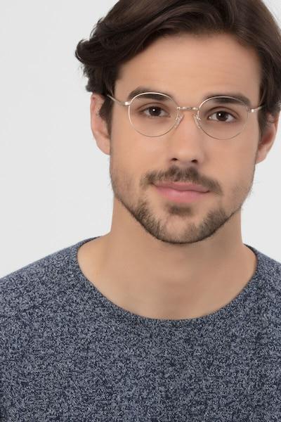 Ledger Golden Métal Montures de Lunettes pour Hommes d'EyeBuyDirect, Vue de Face