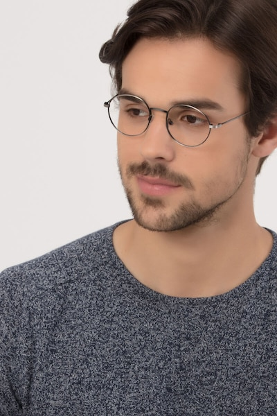 Motif Gunmetal Metal Eyeglass Frames for Men from EyeBuyDirect, Front View