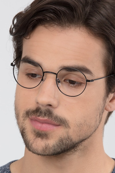 Motif Black Metal Eyeglass Frames for Men from EyeBuyDirect, Front View