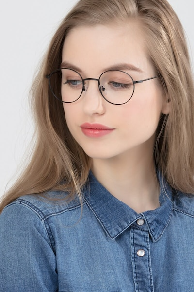 Motif Black Metal Eyeglass Frames for Women from EyeBuyDirect, Front View