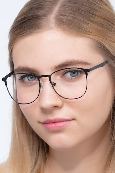 Ember Matte Black Metal Eyeglass Frames for Women from EyeBuyDirect