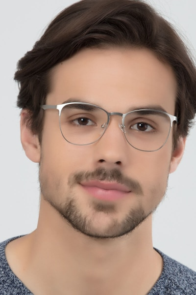 Ember Silver Metal Eyeglass Frames for Men from EyeBuyDirect