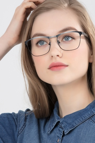 Foundry Black Metal Eyeglass Frames for Women from EyeBuyDirect