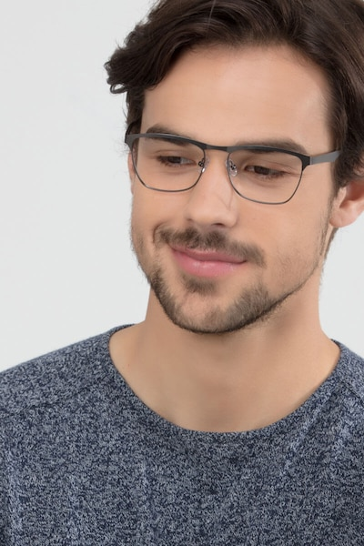Foundry Gunmetal Metal Eyeglass Frames for Men from EyeBuyDirect, Front View