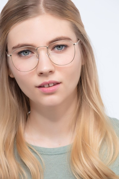 St Michel Golden Metal Eyeglass Frames for Women from EyeBuyDirect, Front View