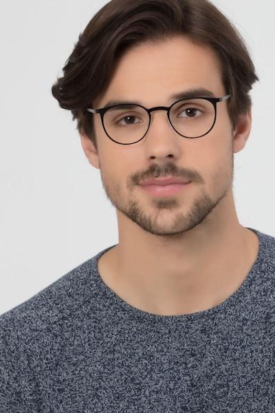 Radius Black Metal Eyeglass Frames for Men from EyeBuyDirect, Front View