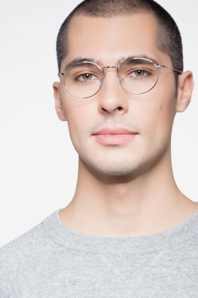 Puzzle Silver Metal Eyeglass Frames for Men from EyeBuyDirect, Front View