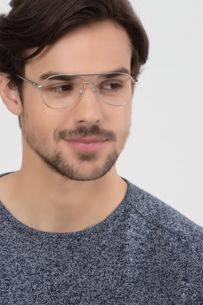 Discover Matte Silver Metal Eyeglass Frames for Men from EyeBuyDirect, Front View