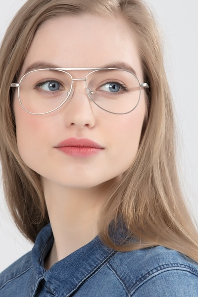 Discover Matte Silver Metal Eyeglass Frames for Women from EyeBuyDirect, Front View