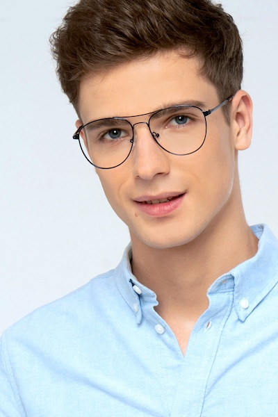 Westbound Dark Navy Metal Eyeglass Frames for Men from EyeBuyDirect, Front View
