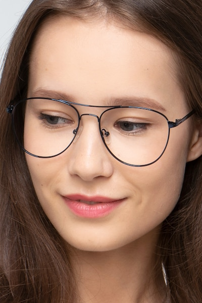 Westbound Dark Navy Metal Eyeglass Frames for Women from EyeBuyDirect