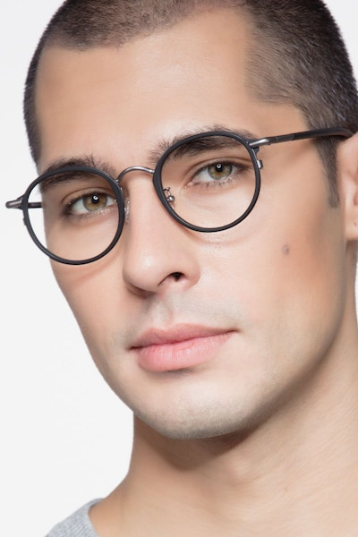 Carnival Matte Black Metal Eyeglass Frames for Men from EyeBuyDirect