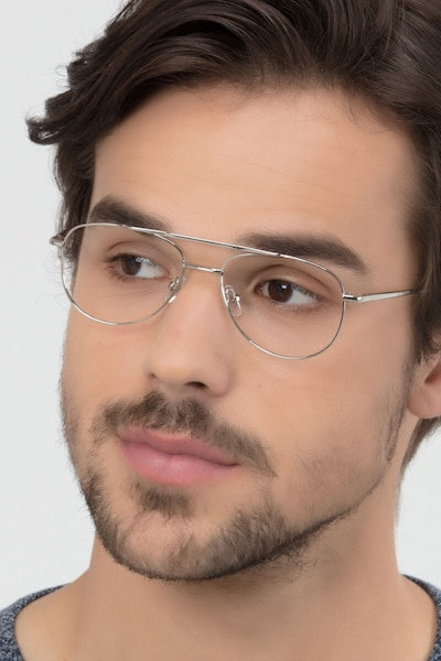 Tasker Silver Metal Eyeglass Frames for Men from EyeBuyDirect