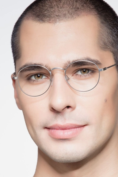 Cupertino Silver Metal Eyeglass Frames for Men from EyeBuyDirect