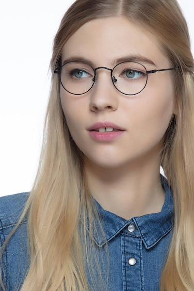 Cupertino Noir Métal Montures de Lunettes pour Femmes d'EyeBuyDirect, Vue de Face