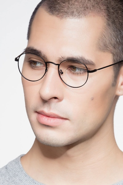 Cupertino Black Metal Eyeglass Frames for Men from EyeBuyDirect