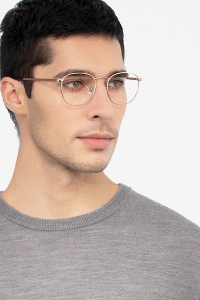 St Michel Golden Metal Eyeglass Frames for Men from EyeBuyDirect, Front View
