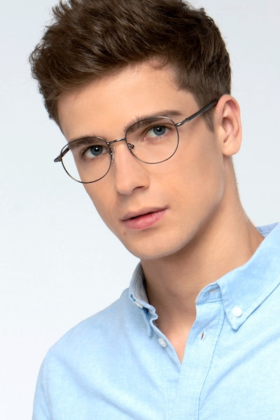 Pensieve Gunmetal Metal Eyeglass Frames for Men from EyeBuyDirect, Front View