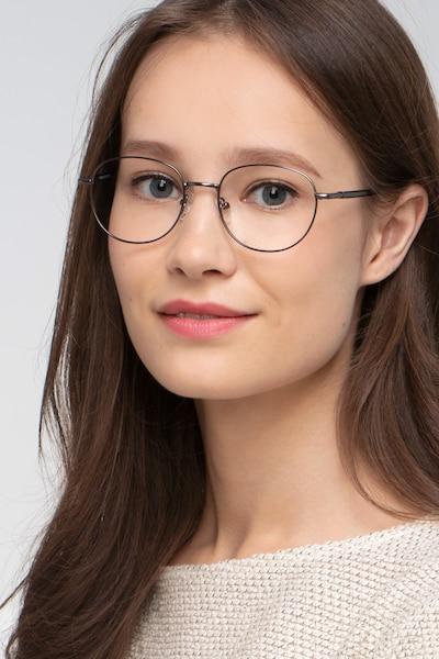 Pensieve Gunmetal Métal Montures de Lunettes pour Femmes d'EyeBuyDirect, Vue de Face