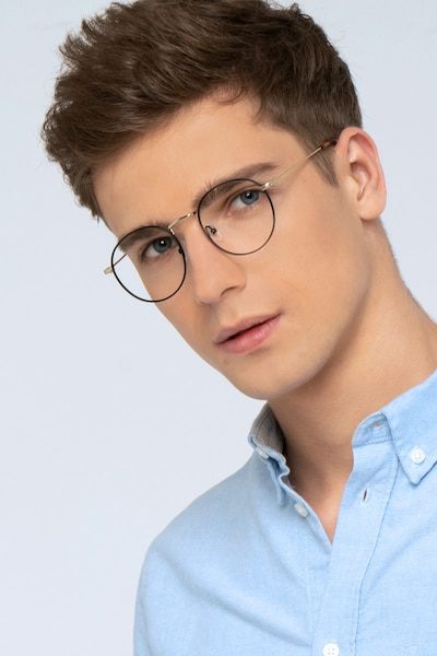Wistful Black Metal Eyeglass Frames for Men from EyeBuyDirect, Front View